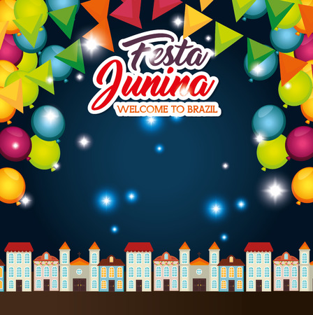Nightime town landscape with ballons and banners festa junina vector illustration Illustration