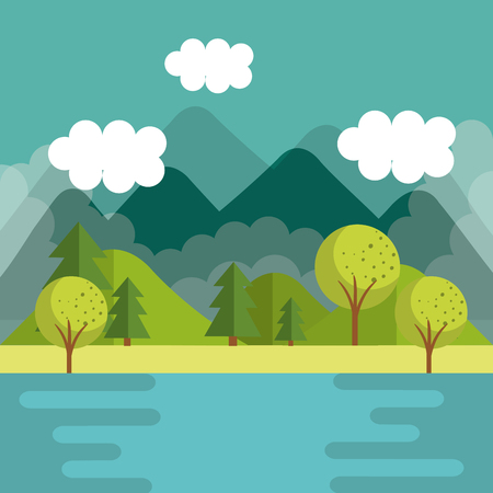 Mountain landscapes with trees and river vector illustration
