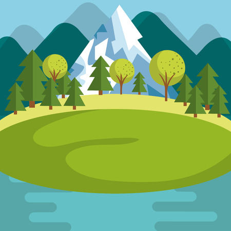 Mountain landscape with snow river and trees vector illustration Illustration