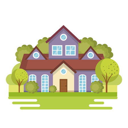 outside the house: Purple house view from outside with trees vector illustration