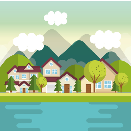 Houses view from outside with mountains river trees vector illustration