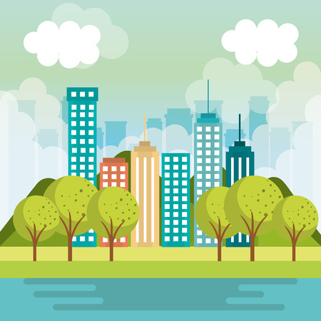 City buildings design with park trees fog and river vector illustration