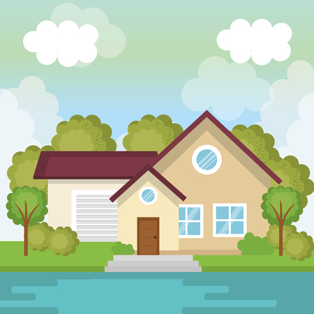 Beige country house view from outside with trees and river vector illustration