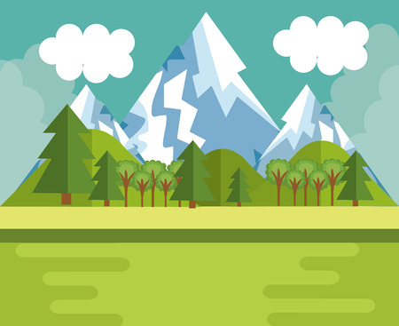 Mountain landscape with snow and trees vector illustration