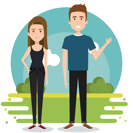 Standing couple with outdoors landscape behind over white background. Vector illustration.