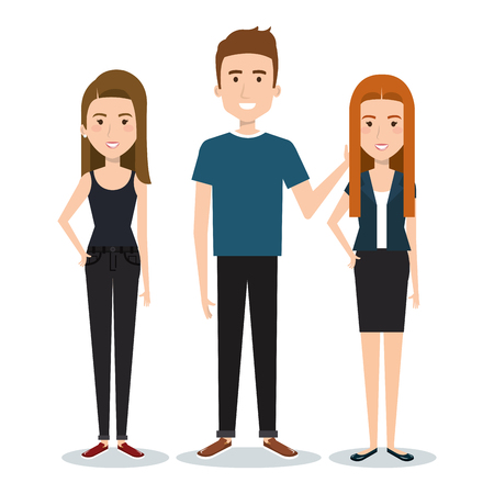 Standing people set over white background. Vector illustration. Illustration
