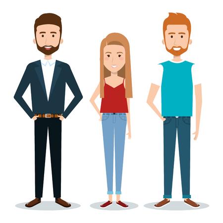 Standing people set over white background. Vector illustration. Ilustração