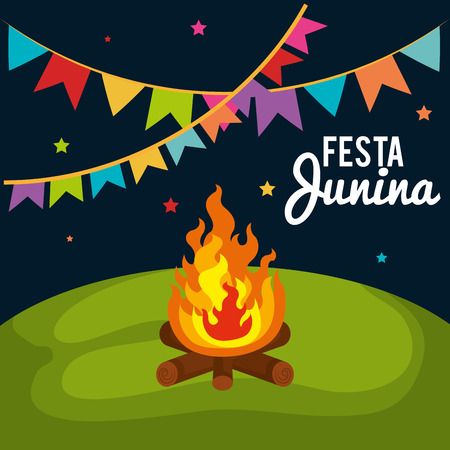 Outdoors landscape with fire, banner and festa junina sign. Vector illustration.