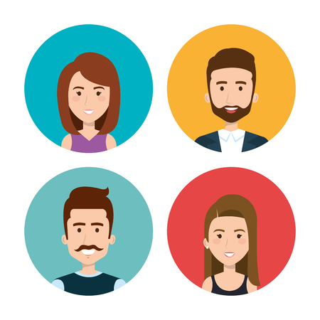 Set of colorful people icons over white background. Vector illustration.