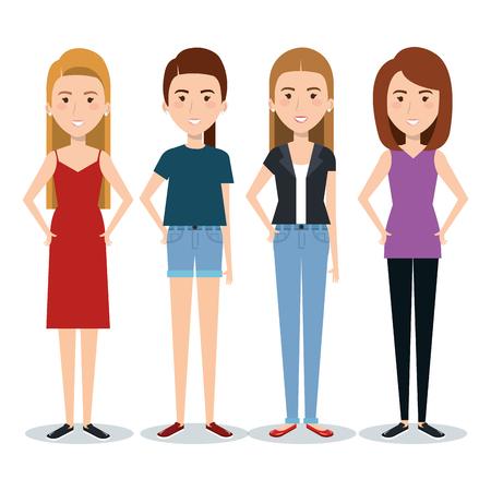 Standing women over white background. Vector illustration.