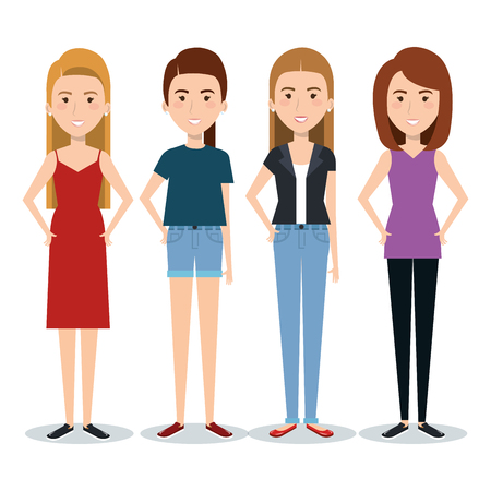 Standing women over white background. Vector illustration.