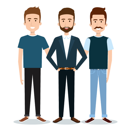 work clothes: Standing men over white background. Vector illustration.