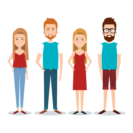 Stading people over white background. Vector illustration.
