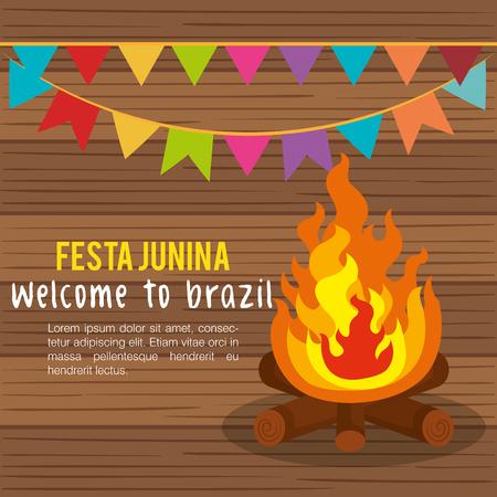 Festa junina infographic con fuoco e bandiera sopra fondo di legno. Illustrazione vettoriale Archivio Fotografico - 79459535