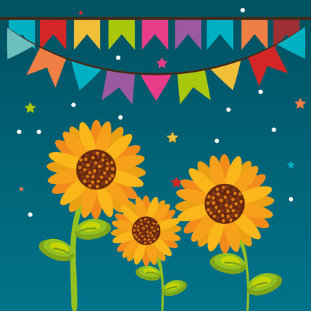 Sunflowers and banners over blue background. Vector illustration. Illusztráció