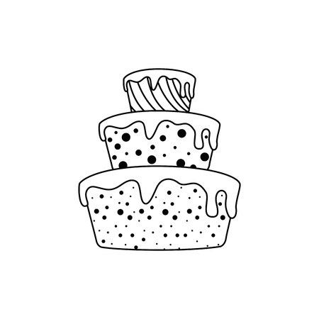 birthday cake icon over white background. vector illustration