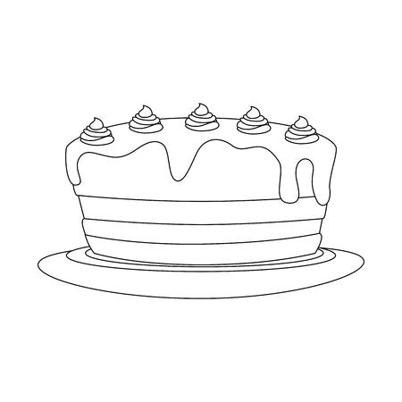 birthday cake icon over white background. vector illustration