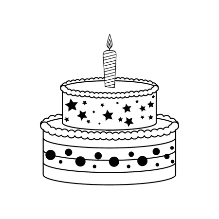 birthday cake with candles icon over white background. vector illustration