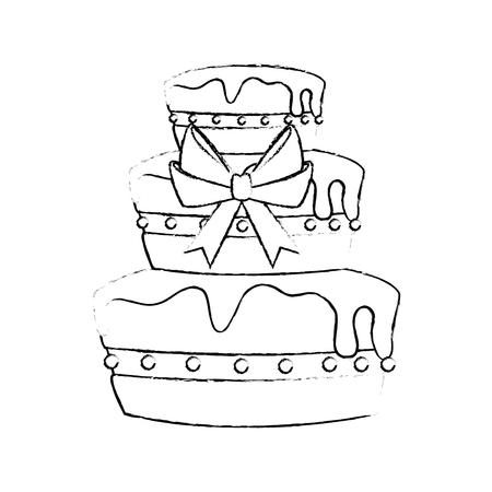 白い背景の上の誕生日ケーキ アイコン。ベクトル図