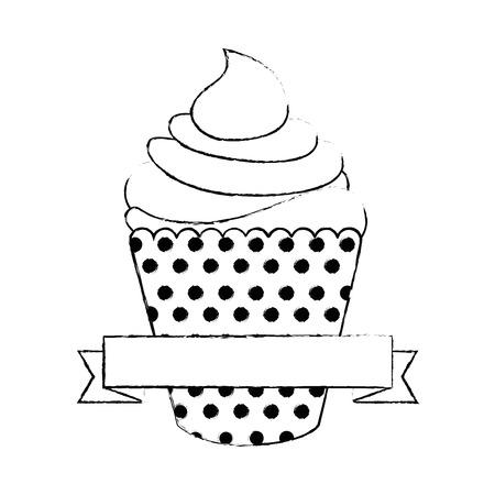 カップケーキ アイコン白背景の上に装飾的なリボン。ベクトル図