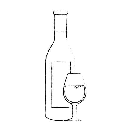 Icona della bottiglia di champagne su sfondo bianco. illustrazione vettoriale Archivio Fotografico - 79459455