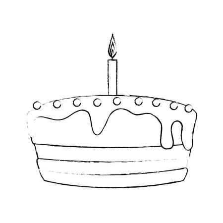 白い背景の上の蝋燭アイコンで誕生日ケーキ。ベクトル図