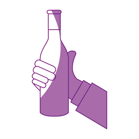 hand holding a champagne bottle icon over white background. vector illustration
