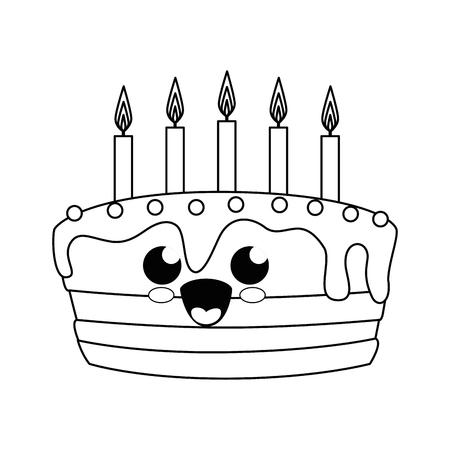 kawaii birthday cake icon over white background. vector illustration