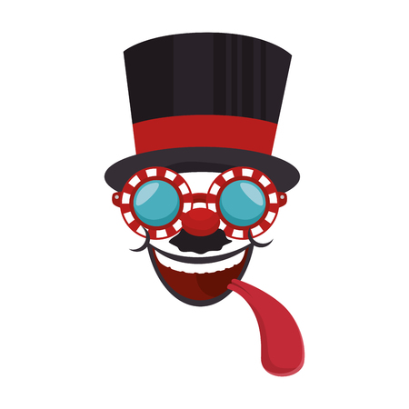 cartoon face with top hat icon over white background colorful design vector illustration