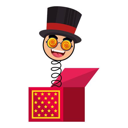 prank: joke box with cartoon face icon over white background colorful design vector illustration Illustration