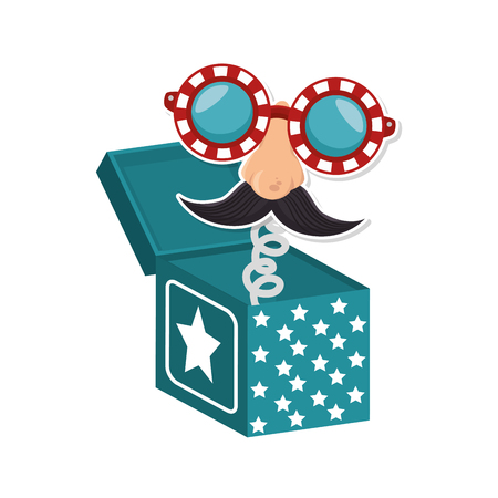 tonto: joke box with cartoon face icon over white background colorful design vector illustration Vectores