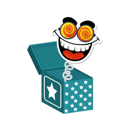 Caja de broma con el icono de la cara de dibujos animados sobre fondo blanco ilustración de vector de diseño colorido Foto de archivo - 79445747