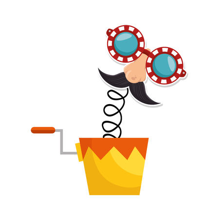 comedy: joke box with cartoon face icon over white background colorful design vector illustration Illustration