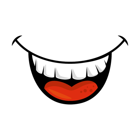 Comic mouth smiling icon over white background.