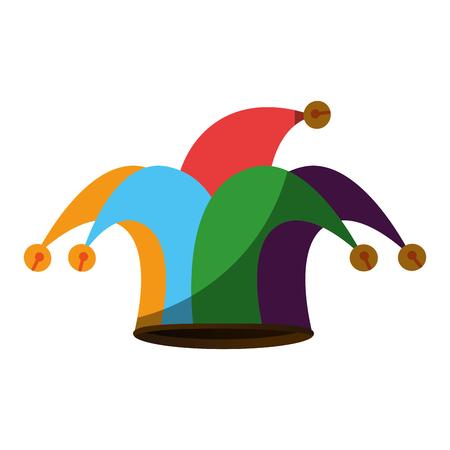 Harlequin hat icon over white background. Illustration