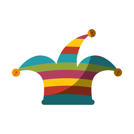 Harlequin hat  icon over white background.
