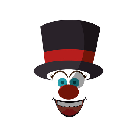 Cartoon face with top hat icon over white background. Illustration