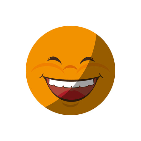 hilarious: cartoon happy face icon over white background. colorful design. vector illustration