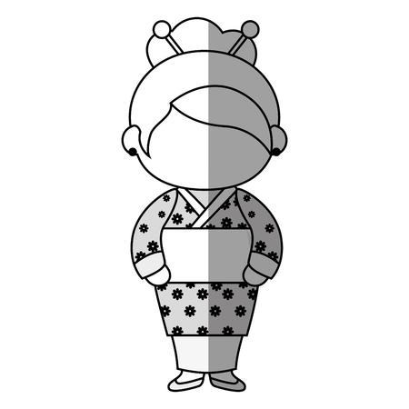 wash machine: girl wearing a kimono dress icon over white background. vector illustration
