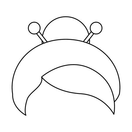 일본 헤어 스타일 전통 아이콘 벡터 일러스트 그래픽 디자인