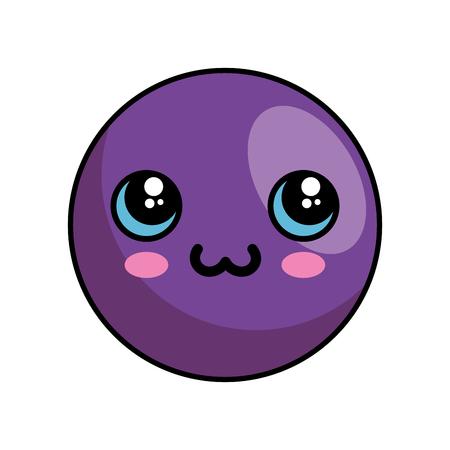 Cute kawaii cartoon face icon vector illustration graphic design