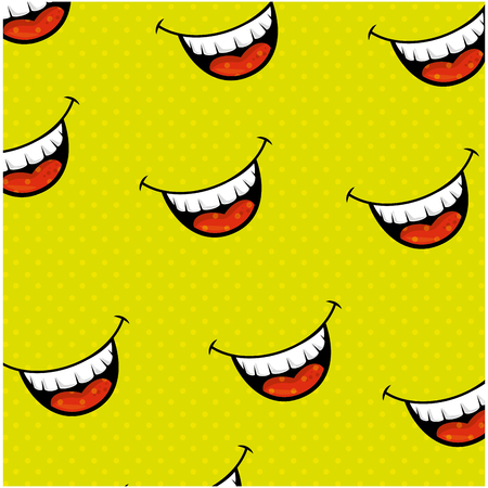 smiling comic faces background colorful design vector illustration