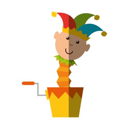 joke box with harlequin icon over white background. colorful design. vector illustration Illustration