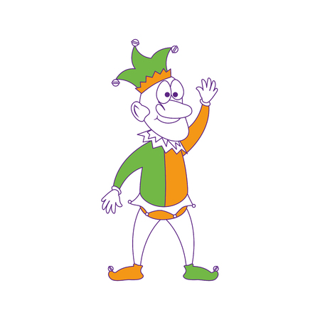 Cartoon harlekijnpictogram op witte achtergrond. vector illustratie Stock Illustratie