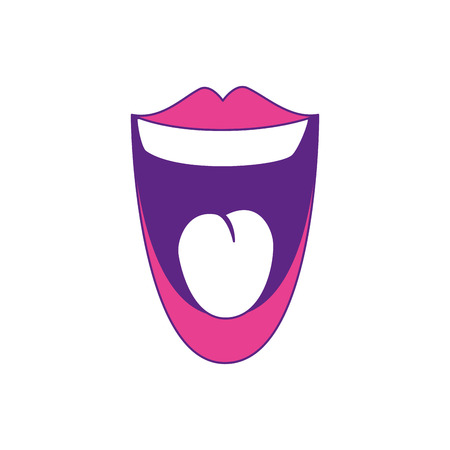 comic mouth smiling icon over white background vector illustration