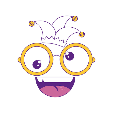 comic face with glasses and harlequin icon over white background vector illustration Illustration