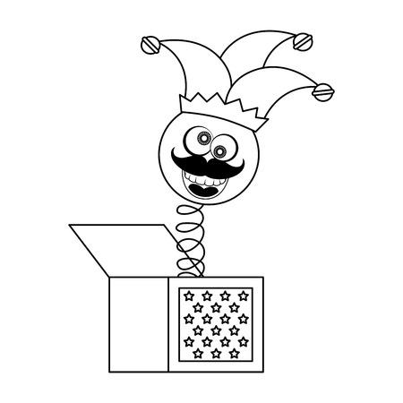 Caja de broma con el icono de Arlequín sobre ilustración de vector de fondo blanco Foto de archivo - 79513137