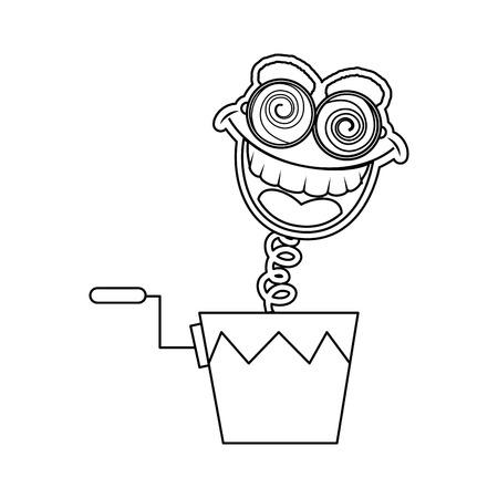 Cuadro de broma con el icono de caja cómica sobre fondo blanco ilustración vectorial Foto de archivo - 79505655