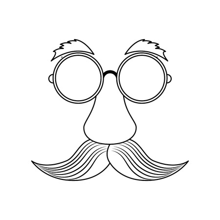 Comic face with mustache icon over white background. vector illustration