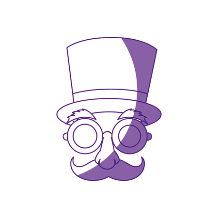 Comic face with top hat icon over white background vector illustration Illustration